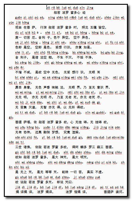 《心经》拼音版(word版,可直接打印也可以修改)